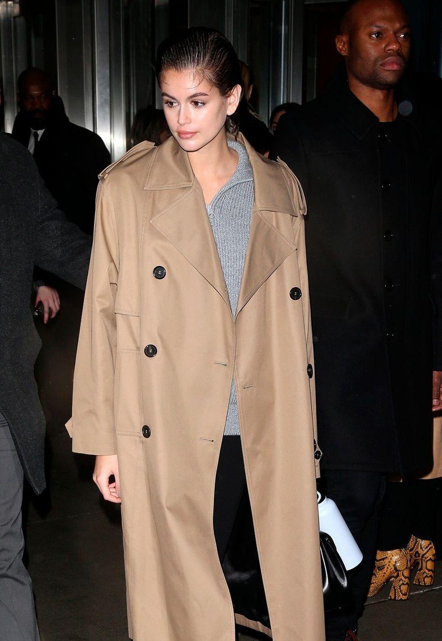 Kaia Gerberarrive au défiléProenza Schouler lors de la Fashion Week à New York, le 10 février 2020.
