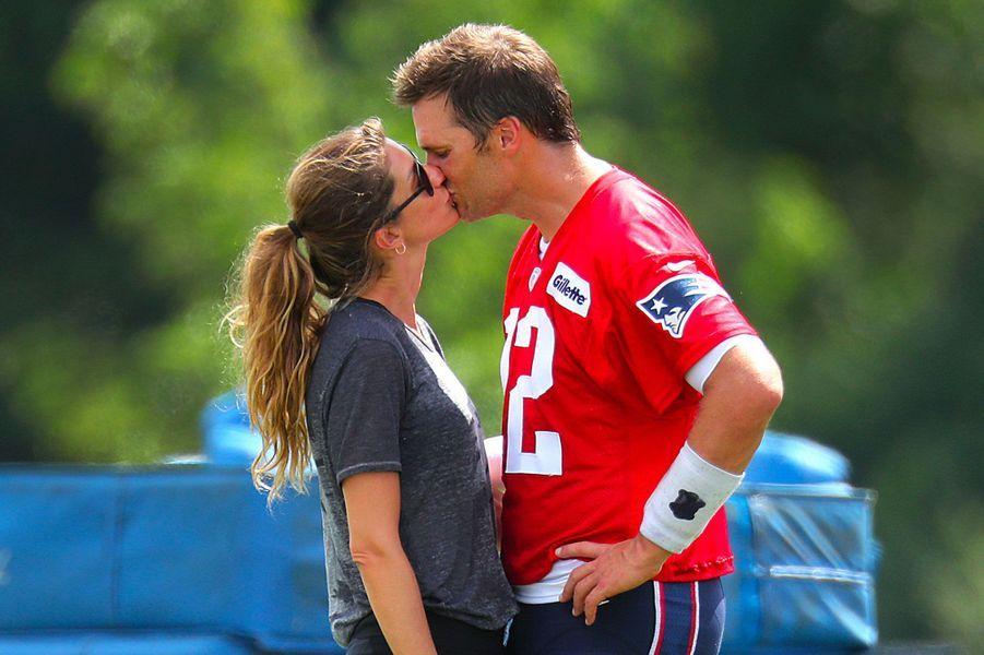 Gisele Bündchen au stade Gillette pour rendre visite à son mari Tom Brady à l'occasion de son 41ème anniversaire, le 3 août 2018
