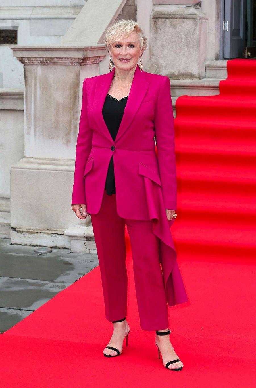 """Glenn Close à Londres pour l'avant-première de """"The Wife"""" à Londres, jeudi 9 août 2018"""