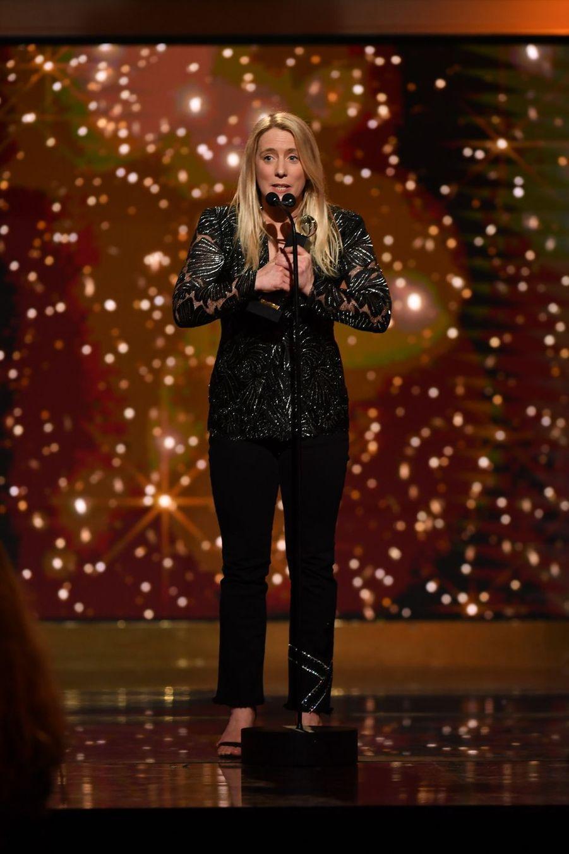 """Andréa Bescond (meilleur film pour """"Les Chatouilles"""")à la 14ème cérémonie des Globes de Cristal, à la salle Wagram à Paris, le 4 février 2019"""