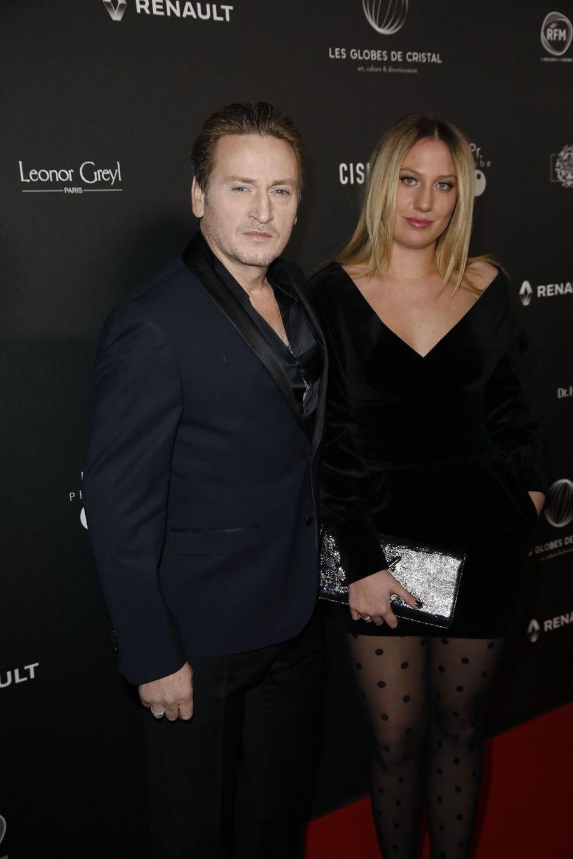 Benoît Magimel et son épouse Margotsur le tapis rouge de la 14e édition des Globes de Cristal à Paris le 4 février 2019