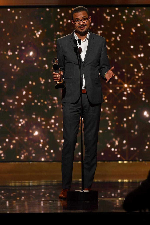 """David Diop (meilleur roman ou essai pour """"Frère d'âme"""")à la 14ème cérémonie des Globes de Cristal, à la salle Wagram à Paris, le 4 février 2019"""