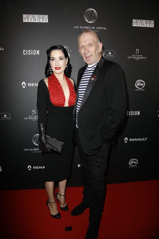 Dita von Teese et Jean Paul Gaultiersur le tapis rouge de la 14e édition des Globes de Cristal à Paris le 4 février 2019