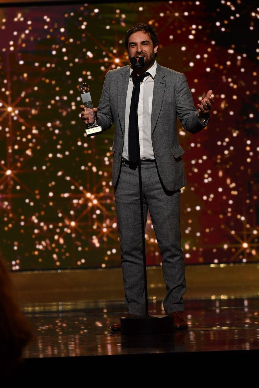 """Grégory Montel (meilleur acteur de fiction télévisée dans """"Dix pour cent"""")à la 14ème cérémonie des Globes de Cristal, à la salle Wagram à Paris, le 4 février 2019"""
