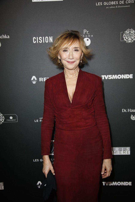 Marie-Anne Chazelle sur le tapis rouge de la 14e édition des Globes de Cristal à Paris le 4 février 2019