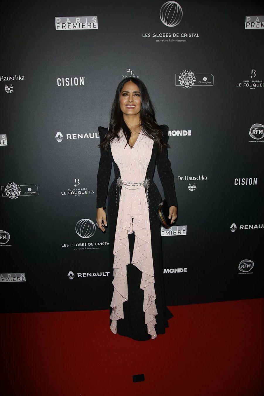 Salma Hayeksur le tapis rouge de la 14e édition des Globes de Cristal à Paris le 4 février 2019