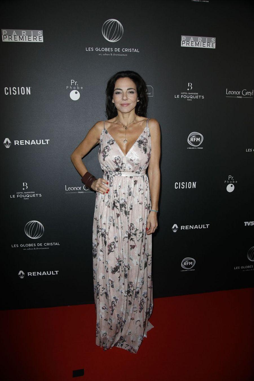 Sandra Sisleysur le tapis rouge de la 14e édition des Globes de Cristal à Paris le 4 février 2019