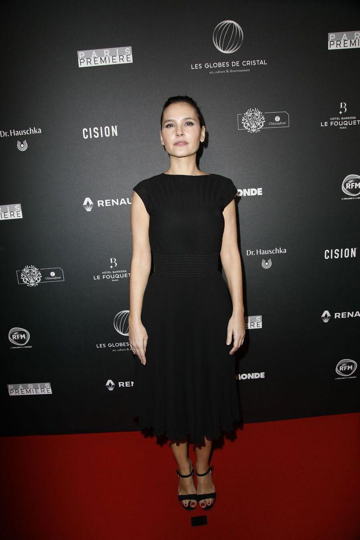 Virginie Ledoyen sur le tapis rouge de la 14e édition des Globes de Cristal à Paris le 4 février 2019
