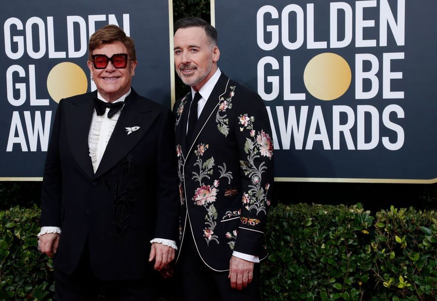 Elton John et David Furnish à la 77e édition des Golden Globes à Los Angeles le 5 janvier 2020