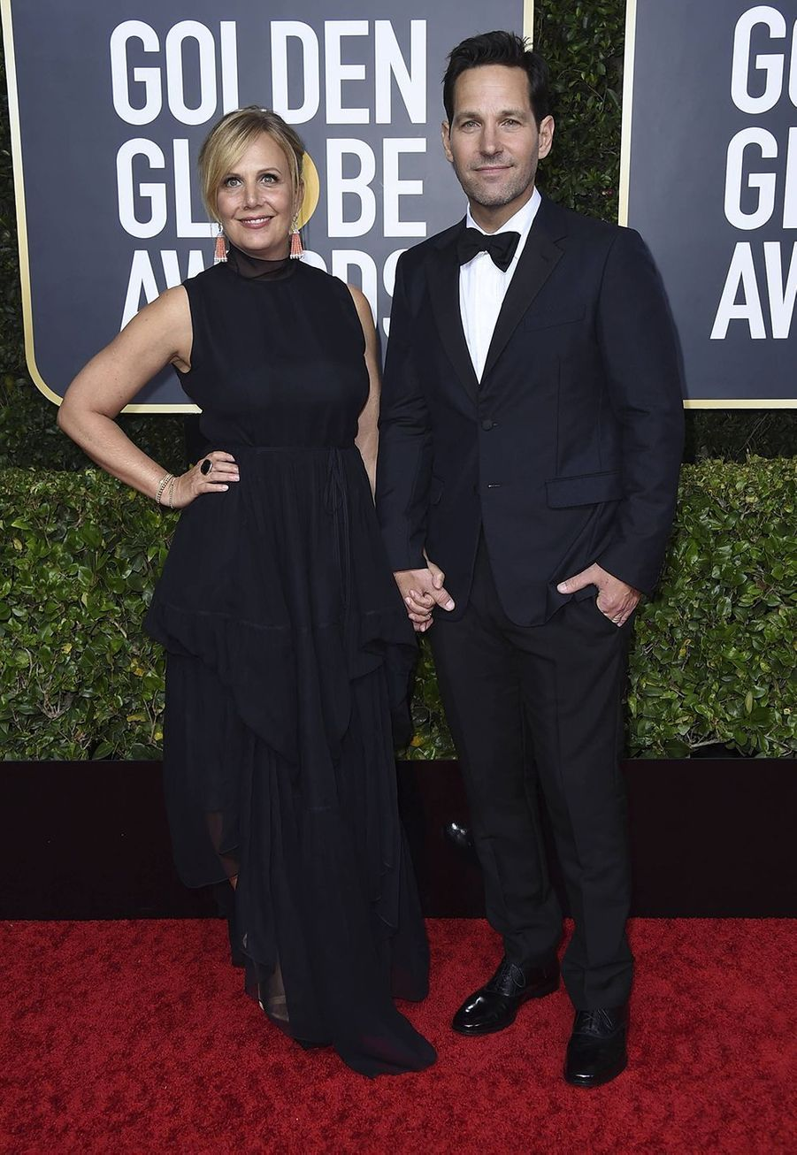 Julie Yaeger et Paul Rudd à la 77e édition des Golden Globes à Los Angeles le 5 janvier 2020