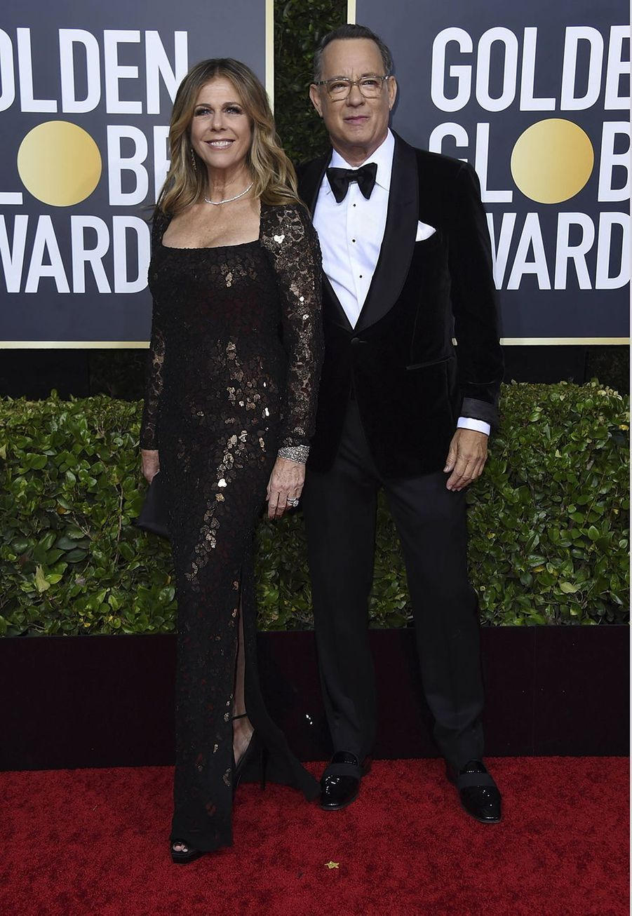 Rita Wilson et Tom Hanks à la 77e édition des Golden Globes à Los Angeles le 5 janvier 2020