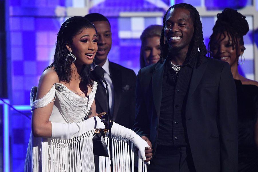 Cardi B lors de la 61èmecérémonie des Grammy Awards à Los Angeles, le dimanche 10 février 2019