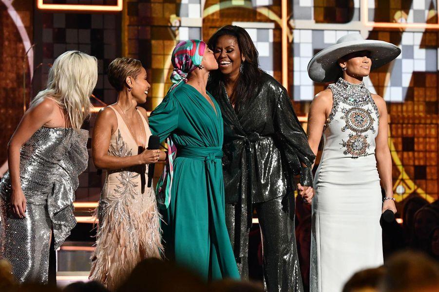 Lady Gaga, Jada Pinkett-Smith, Alicia Keys et Michele Obama lors de la 61ème cérémonie des Grammy Awards à Los Angeles, le dimanche 10 février 2019