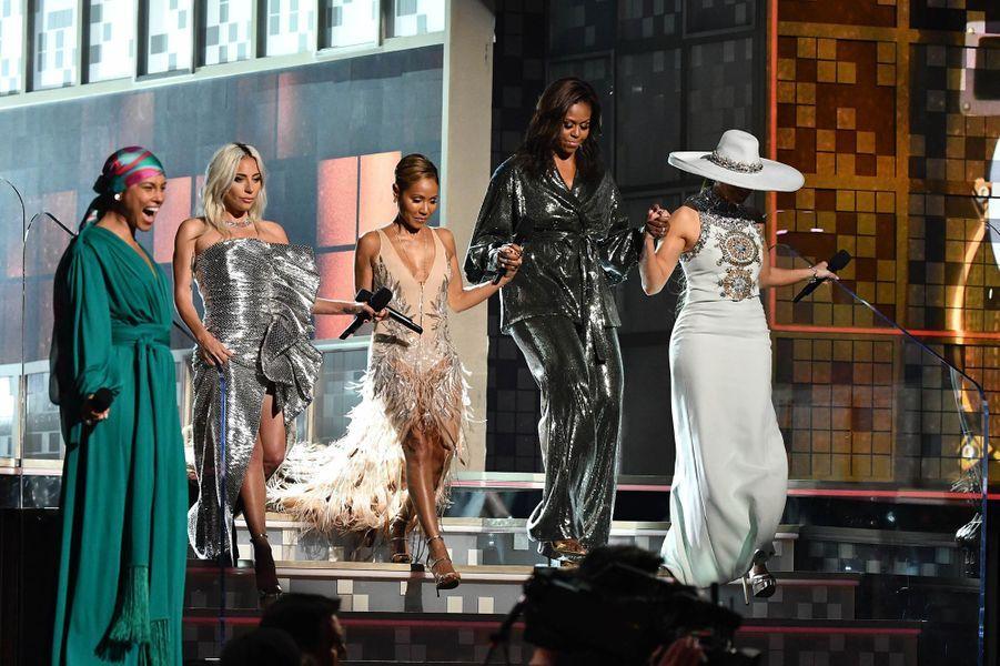 Lady Gaga, Jada Pinkett-Smith, Alicia Keys et Michele Obama lors de la 61èmecérémonie des Grammy Awards à Los Angeles, le dimanche 10 février 2019