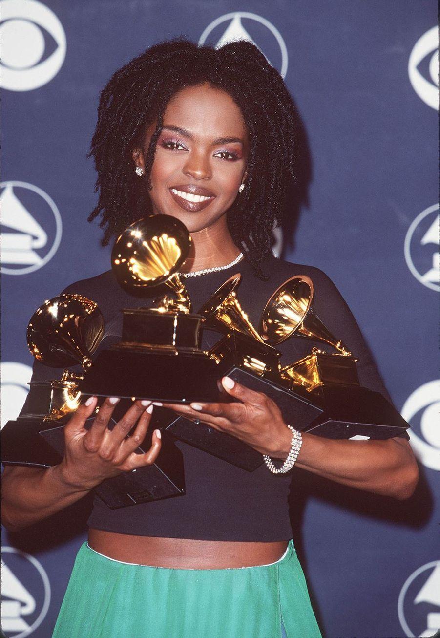 """Lauryn Hill aux Grammy Awards le 24 février 1999. Elle avait remporté cinq Grammy pour son album """"The miseducation of Lauryn Hill""""."""