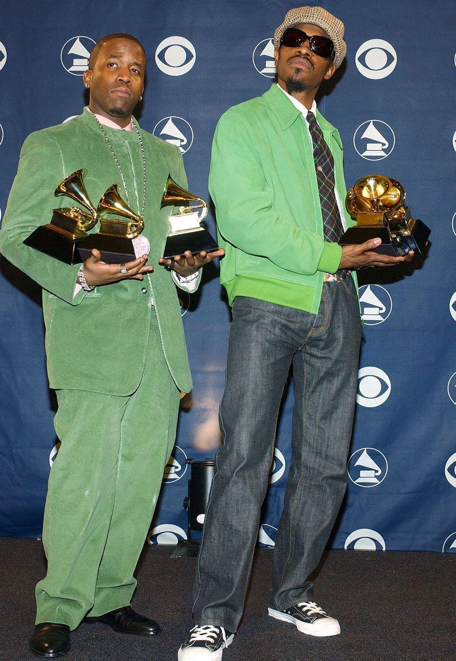 """Outkast aux Grammy Awards le 8 février 2004. Le duo avait remporté trois prix dont celui du meilleur album de rap pour """"Speakerboxxx/The Love Below""""."""
