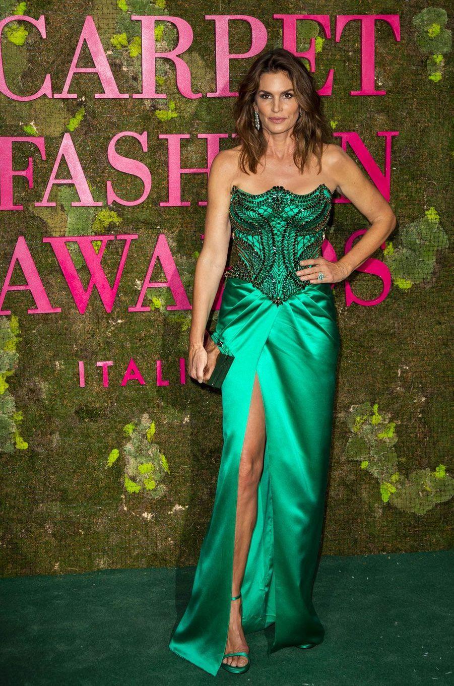 Cindy Crawford aux Green Fashion Awards à Milan, le 23 septembre 2018