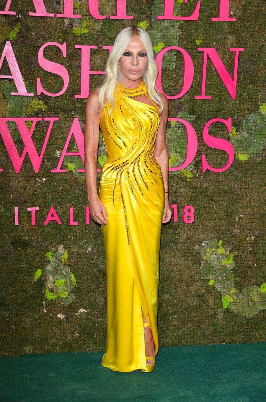 Donatella Versace aux Green Fashion Awards à Milan, le 23 septembre 2018