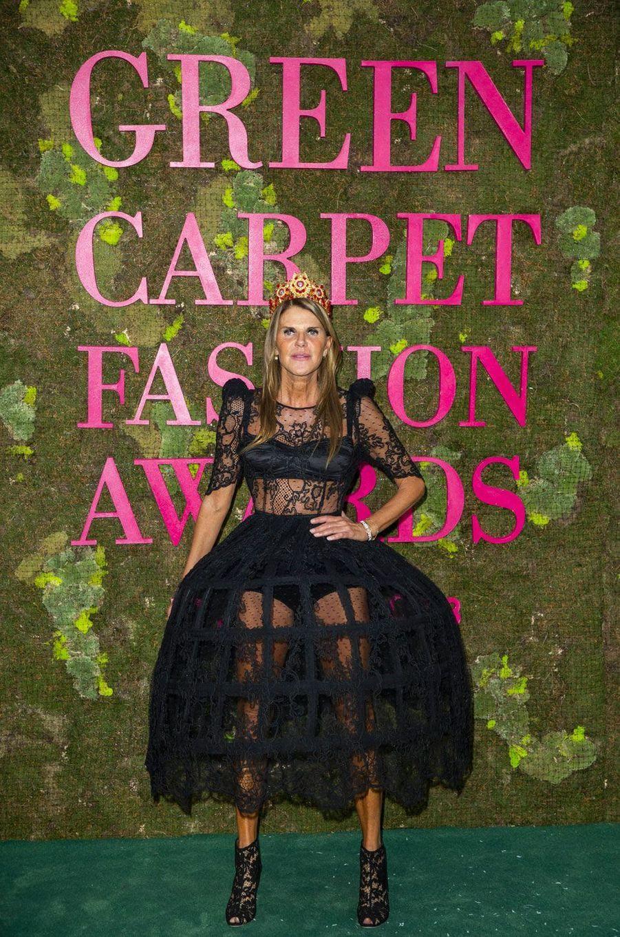 Anna Dello Russo aux Green Fashion Awards à Milan, le 23 septembre 2018