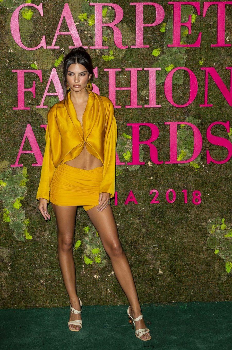 Emily Ratajkowski aux Green Fashion Awards à Milan, le 23 septembre 2018