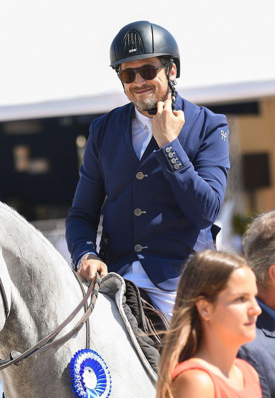 Guillaume Canet a terminé 5ème du Prix«Nostalgie Cote d'Azur»au jumping Longines Global Champions tour de Cannes le 6 juin 2019.