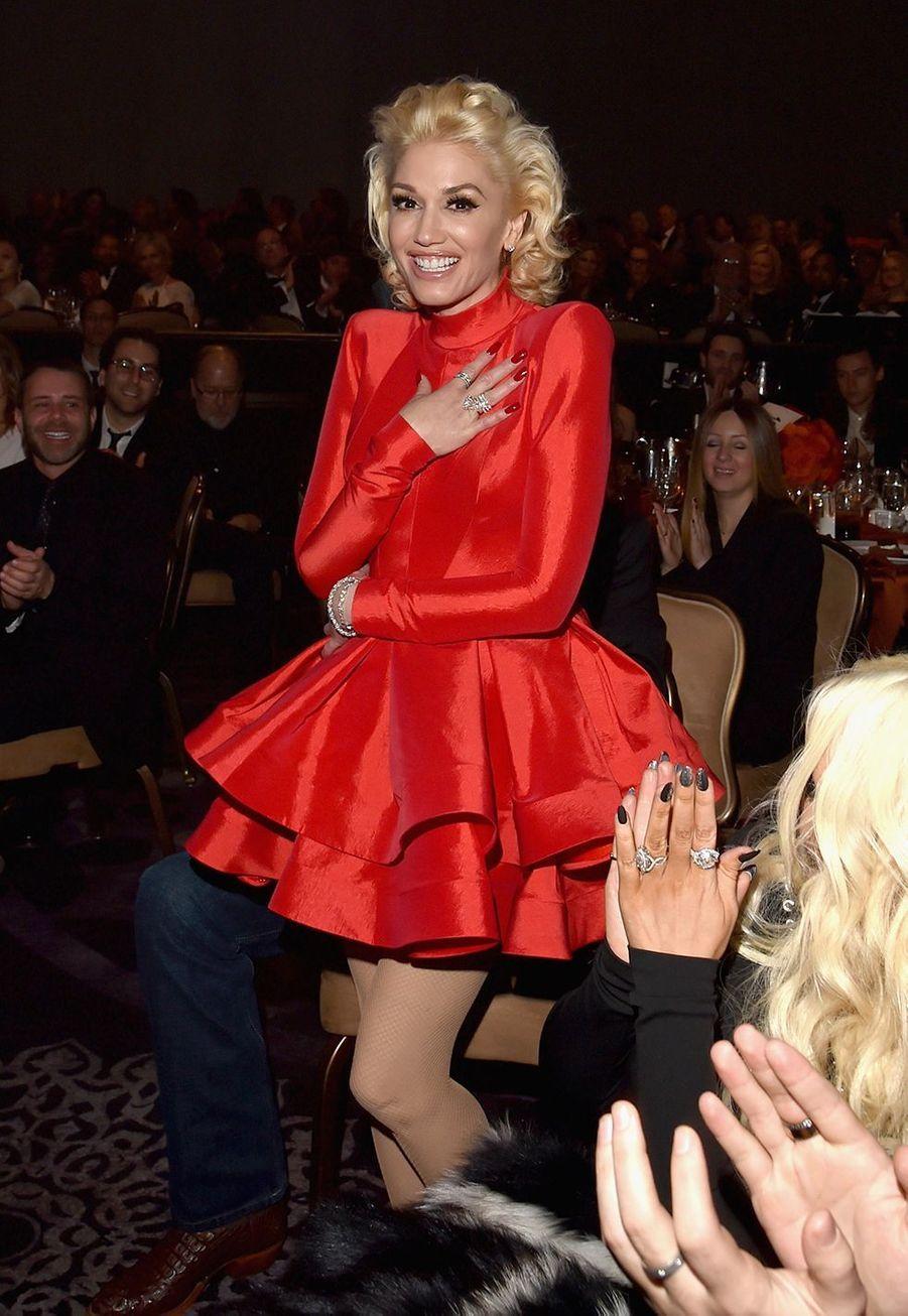 Gwen Stefani lors des pré-Grammy Awards au Beverly Hilton Hotel de Beverly Hills en 2016.