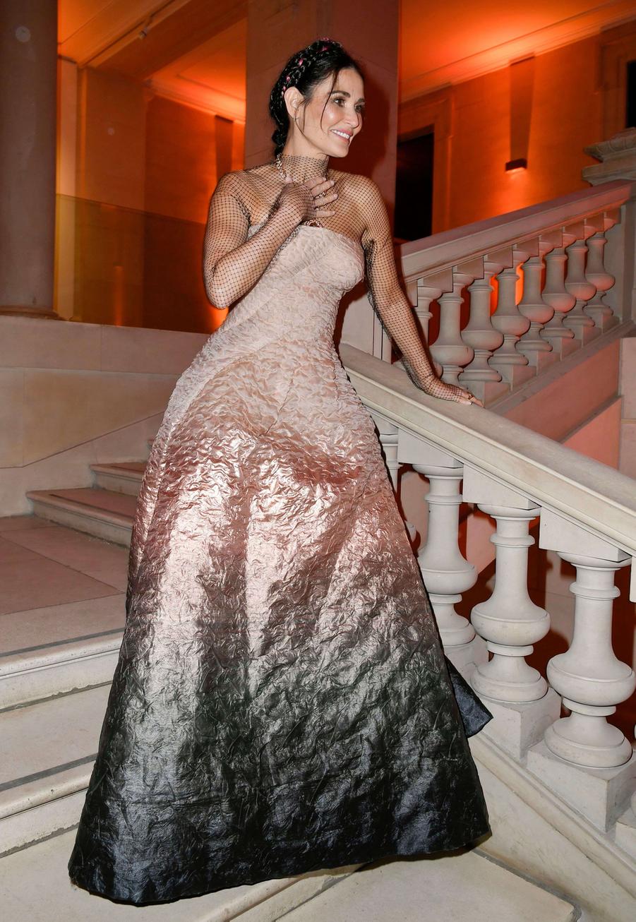 Demi Mooreau vernissage de l'exposition Harper's Bazaar au Musée des Arts décoratifs, à Paris, le 26 février 2020.