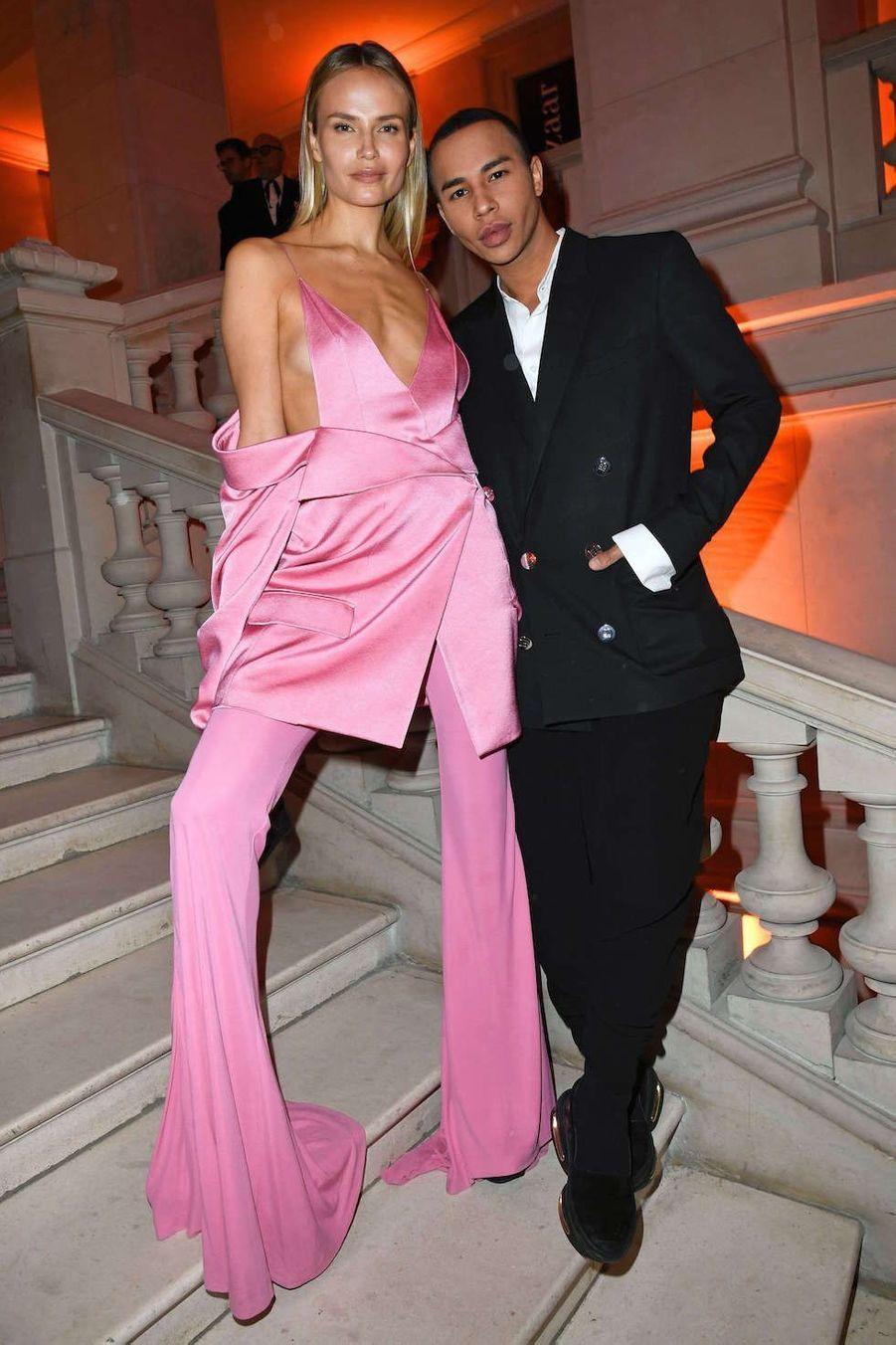 Natasha Poly and Olivier Rousteingau vernissage de l'exposition Harper's Bazaar au Musée des Arts décoratifs, à Paris, le 26 février 2020.