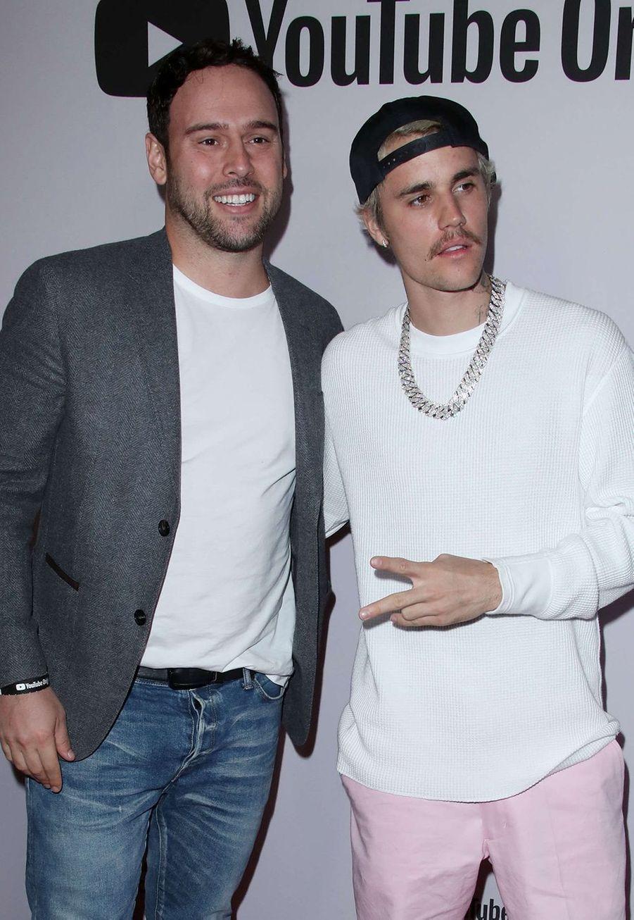 Scooter Braun et Justin Bieberà l'avant-première du documentaire «Justin Bieber : Seasons» à Los Angeles le 27 janvier 2020