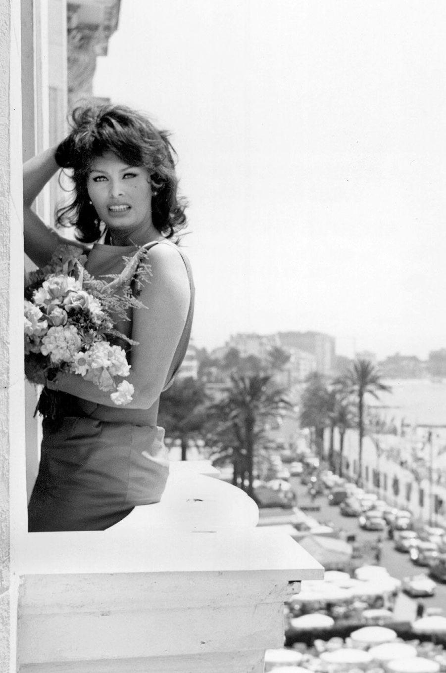 Sophia Loren au Carlton à Cannes en 1959