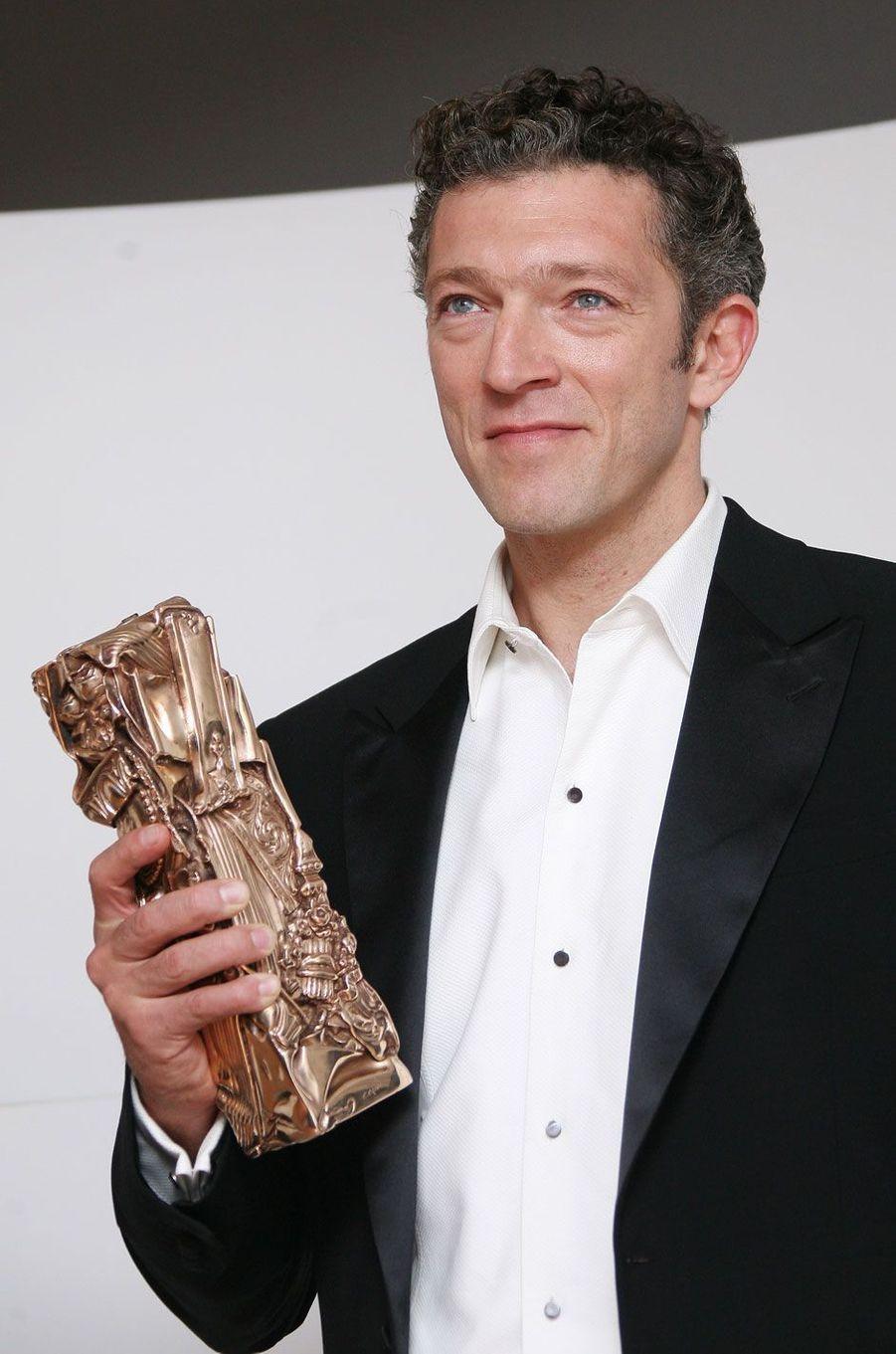 """Vincent Cassel en 2009, remporte le César du meilleur acteur pour """"Mesrine"""""""
