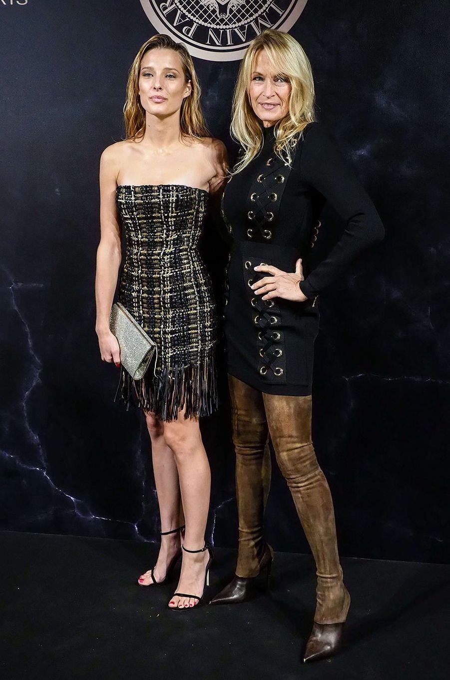 Estelle Lefébure et Ilona Smet complices à la soirée L'Oréal X Balmain, le 28 septembre 2017 à Paris.
