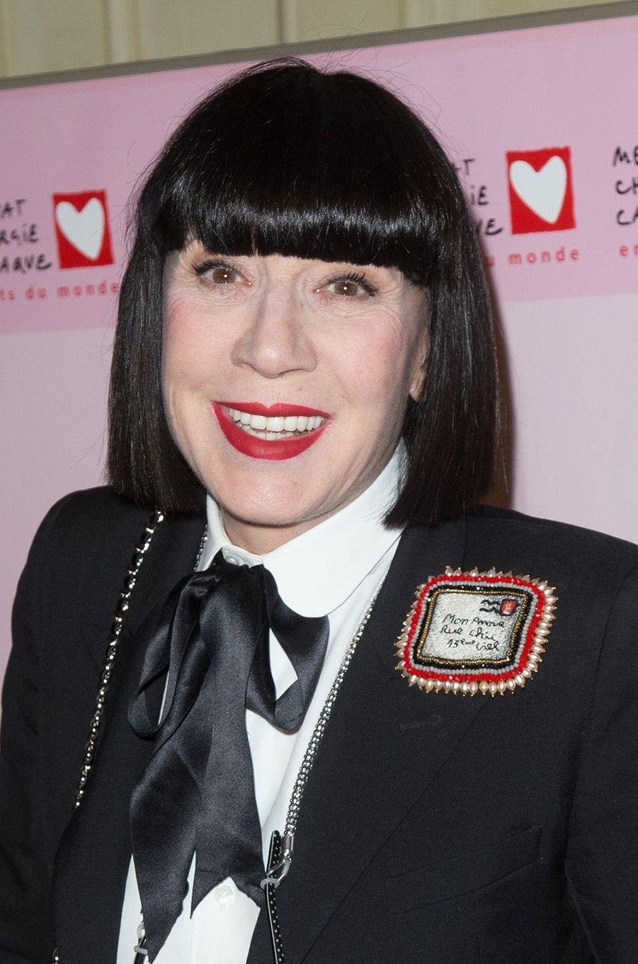 Chantal Thomass au Galadu coeur deMécénat Chirurgie cardiaque, à Paris le 30 janvier 2017.