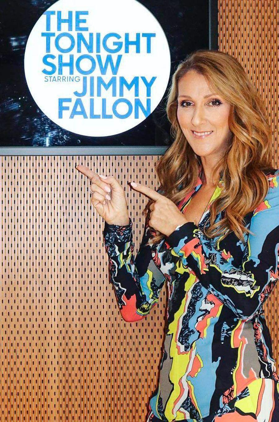 Céline Dion avant d'aller sur le plateau du show de Jimmy Fallon