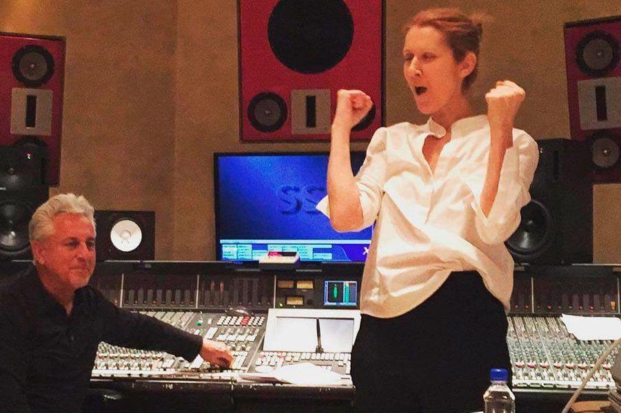 Céline Dion en studio pour l'enregistrement de son dernier album