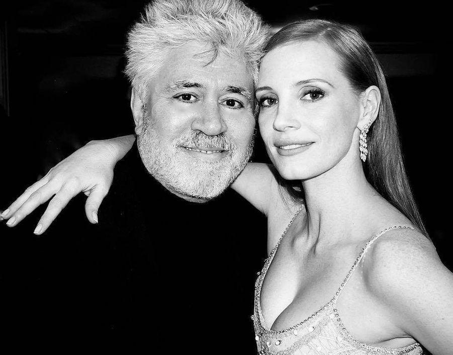 Jessica Chastain et Pedro Almodovar.