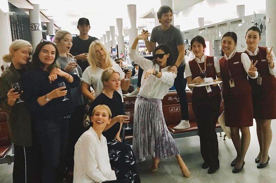 Victoria Beckham et son équipe en voyage