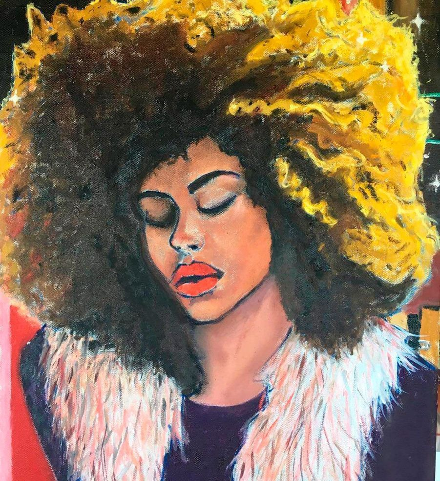 Tina Kunakey peinte parVincent Cassel