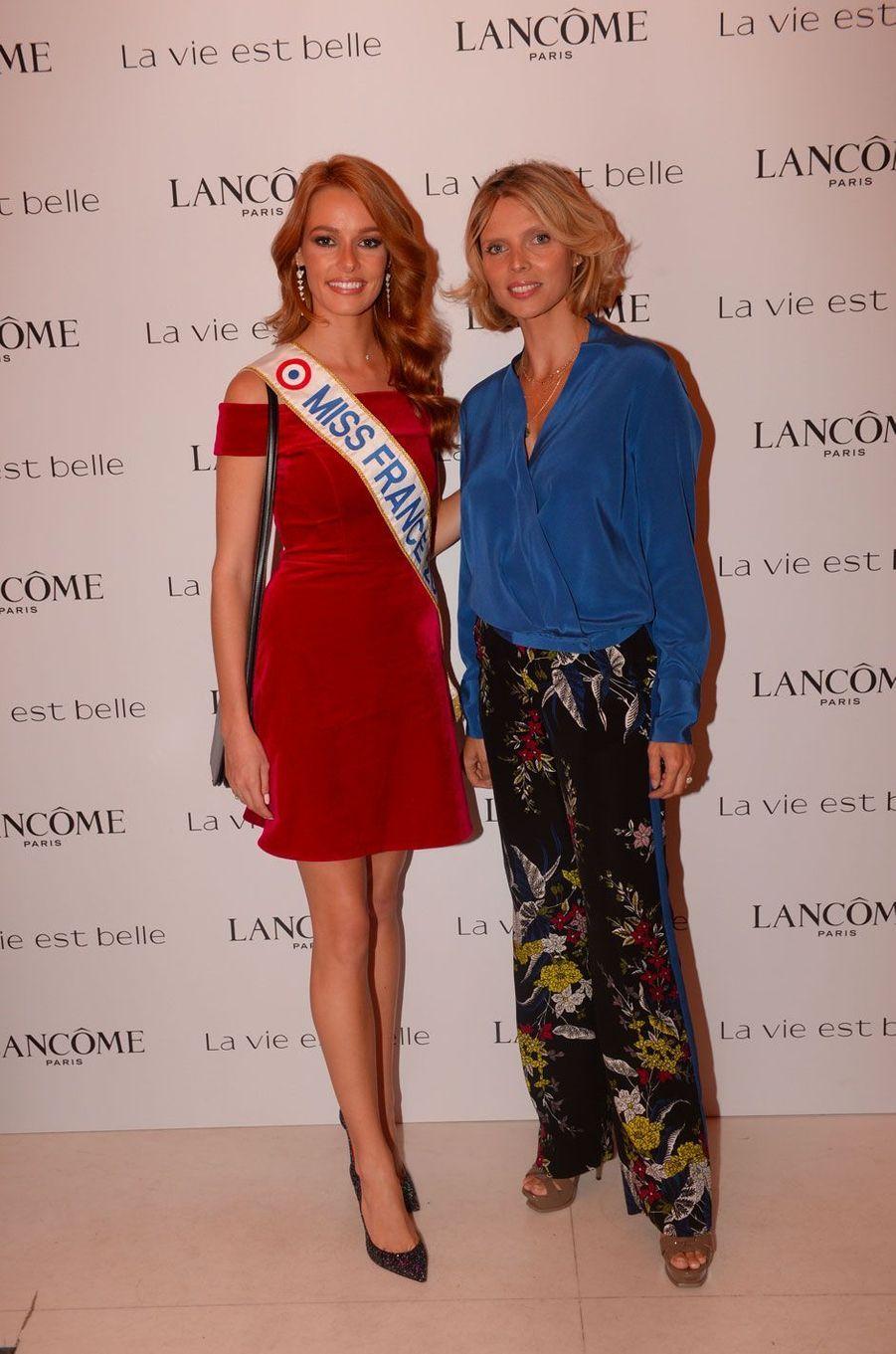 Maëva Coucke et Sylvie Tellier à la soirée Lancôme, à Paris le 12 septembre 2018