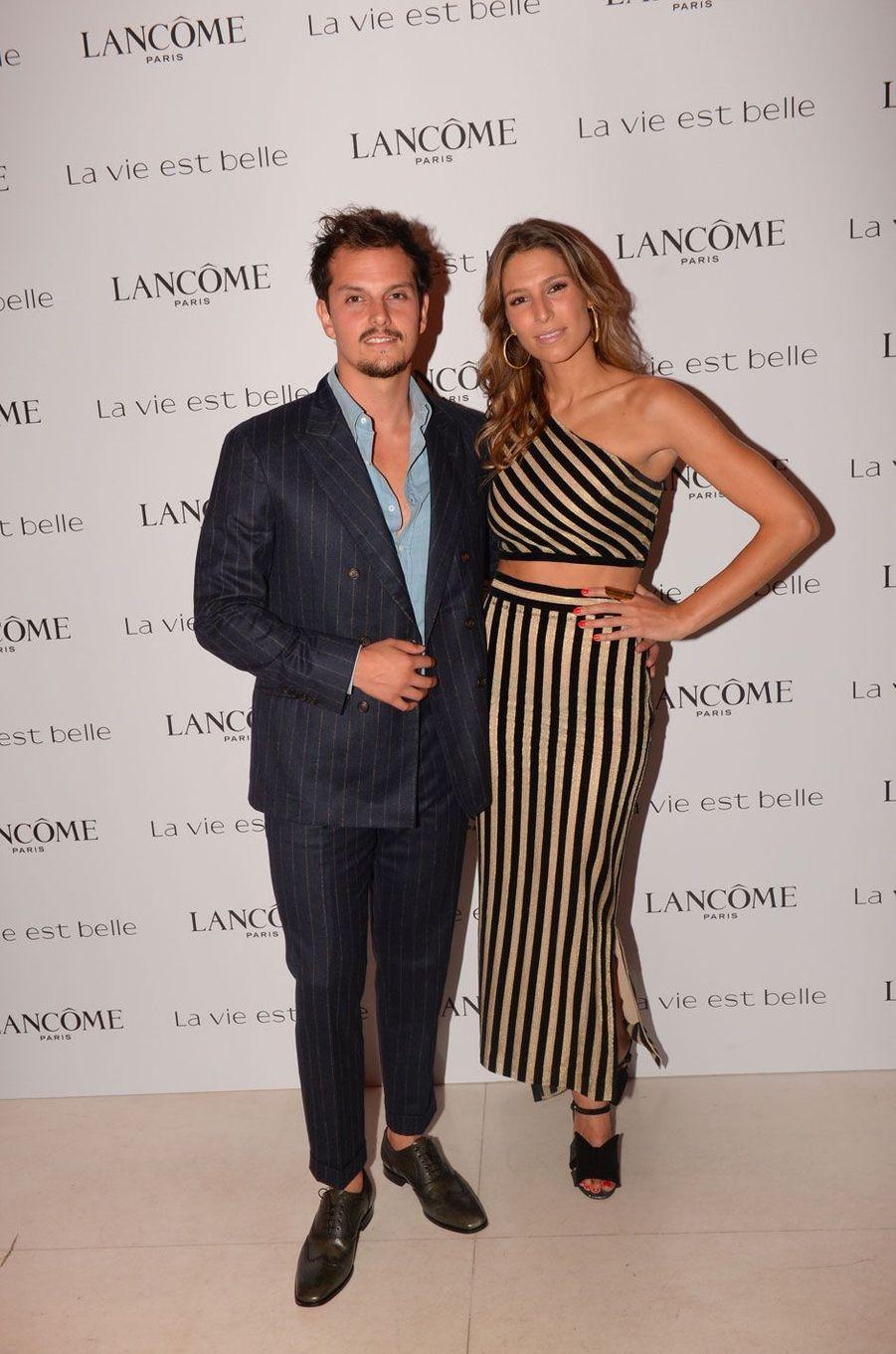 Laury Thilleman et Juan Arbelaez à la soirée Lancôme, à Paris le 12 septembre 2018