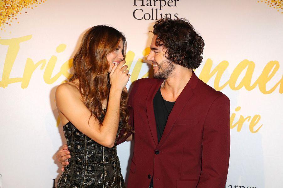 """Iris Mittenaere, avec Anthony Colette, à la soirée de lancement de son livre """"Toujours y croire"""", mardi 6 novembre"""