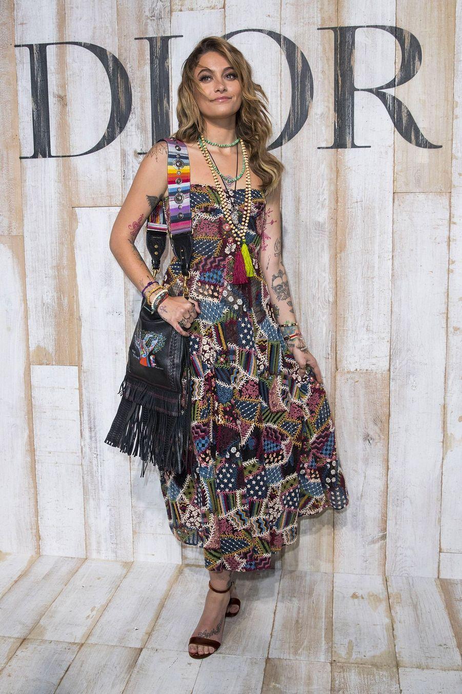 Paris Jackson au Photocall de la collection croisière Christian Dior Couture printemps-été 2019 dans les grandes écuries du château de Chantilly, le 25 mai 2018.