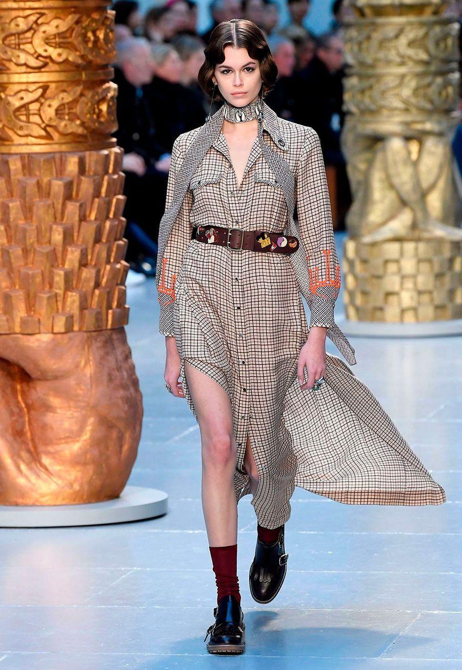 Kaia Gerberau défilé Chloé lors de la fashion week de Paris, le 27 février 2020.