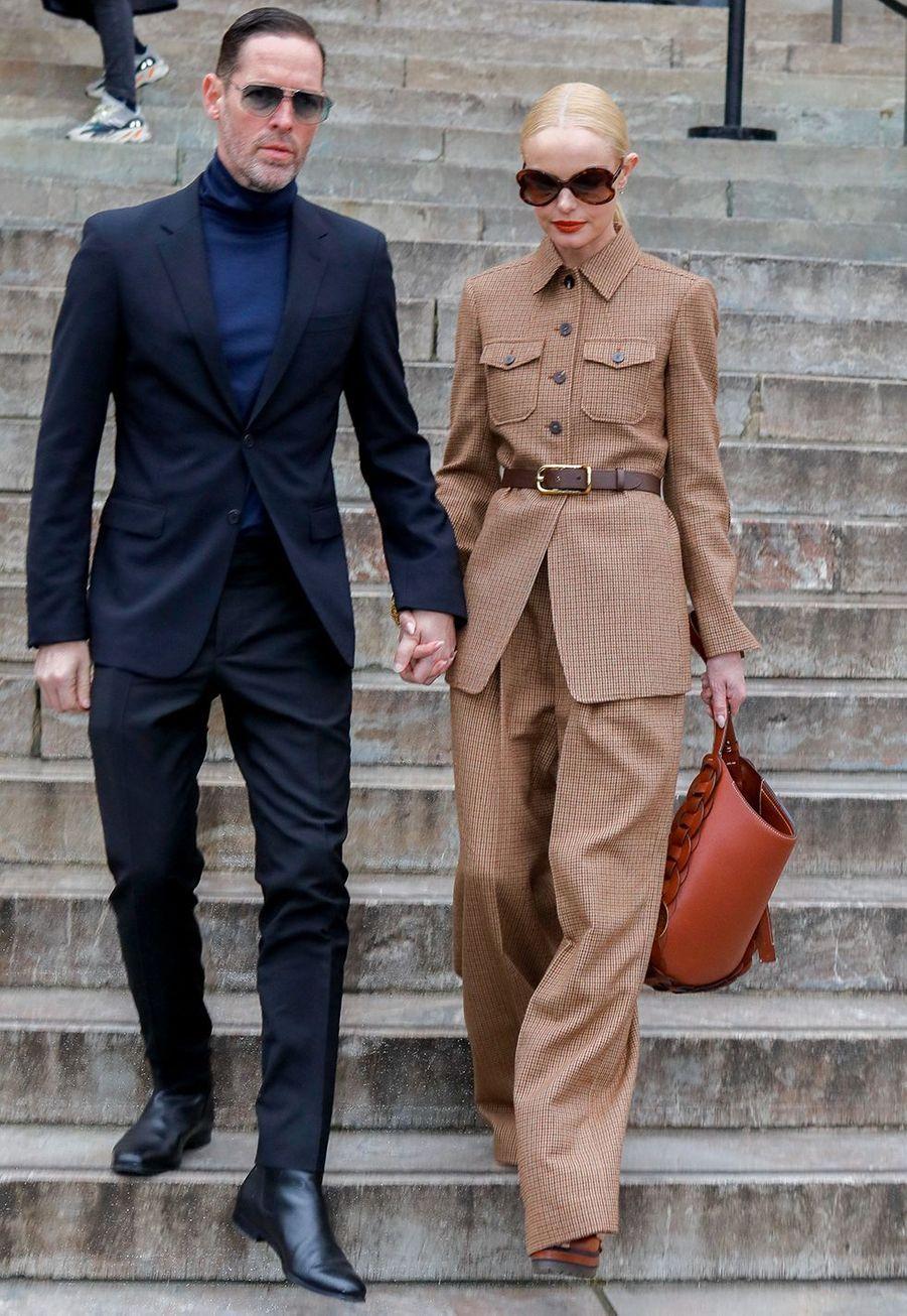 Kate Bosworth et son mariMichael Polisharrivent au défilé Chloé lors de la fashion week de Paris, le 27 février 2020.