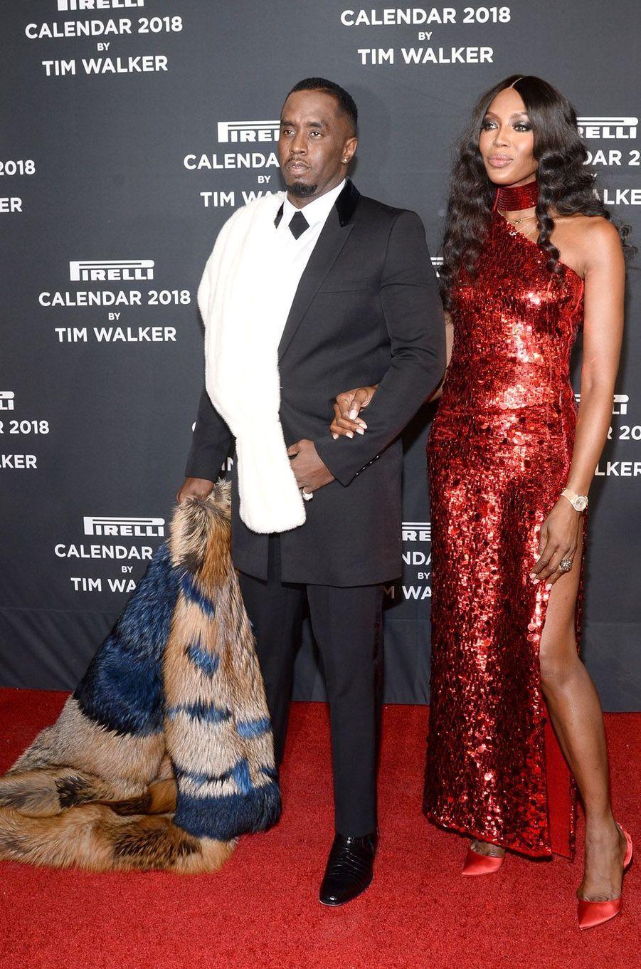 Naomi Campbell et Diddy au gala Pirelli, le 10 novembre 2017 à New York.