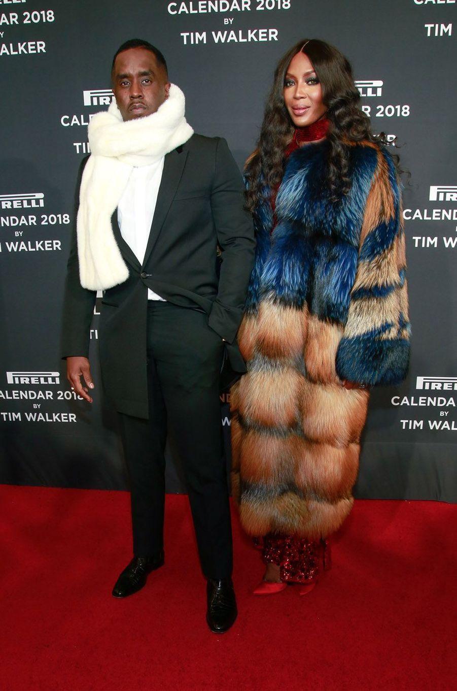 Naomi Campbell et Diddy à la soirée de lancement du calendrier Pirelli 2018, le 10 novembre 2017 à New York.
