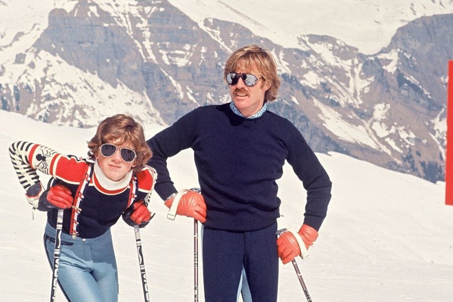 James et Robert Redford à Gstaad en mars 1977
