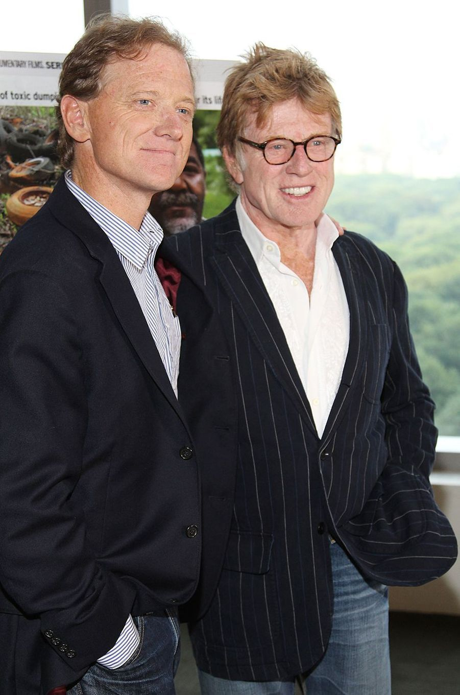 James et Robert Redford lors de la projection du documentaire «Mann V. Ford» à New York en 2011