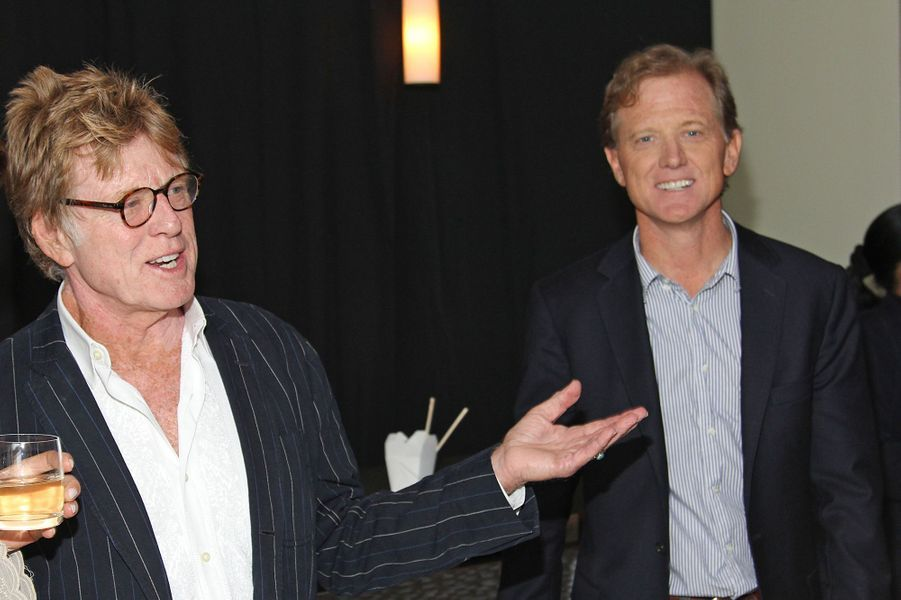 Robert et James Redford lors de la projection du documentaire «Mann V. Ford» à New York en 2011