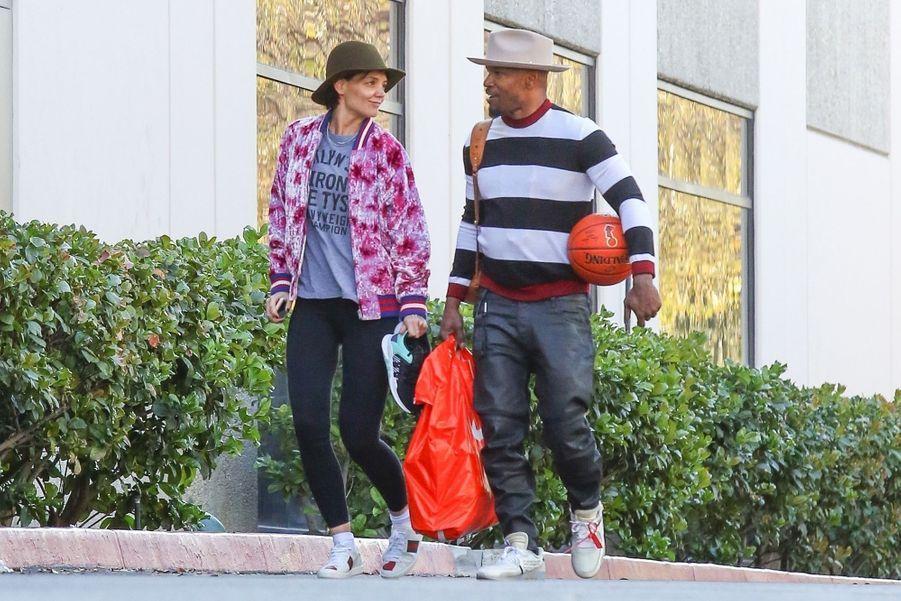 Katie Holmes et Jamie Foxx sont allés jouer au basket le jour de la St Valentin à Los Angeles, le 14 février 2018